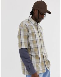 ASOS Relaxed Grid Check Shirt - Natural