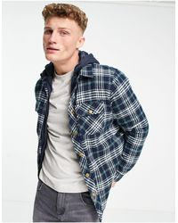 Threadbare Check Shirt With Hood - Blue