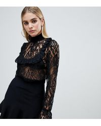 PrettyLittleThing - Ruffle Bib Detail Lace High Neck Top In Black - Lyst