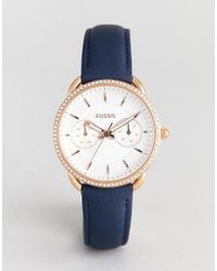 Fossil - Es4394 Tailor Navy Leather Watch In Rose Gold - Lyst