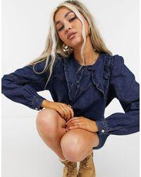 Noisy May - – Hemdkleid aus Denim mit Prärie-Kragen - Lyst