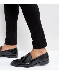 ASOS - Asos Wide Fit Brogue Loafers In Black Leather With Tassel - Lyst