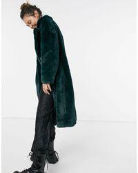Pepe Jeans Зеленая Длинная Шуба Из Искусственного Меха Exene-зеленый