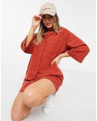 Monki - Джинсовое Платье-рубашка Мини Из Органического Хлопка Рыжего Цвета В Стиле Oversized Lisen-оранжевый Цвет - Lyst