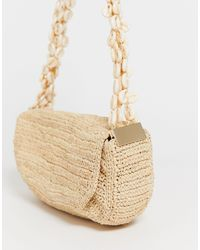 & Other Stories Straw Baguette Bag With Shell Straps - Natural
