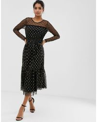 Vila Metallic Spot Midi Dress - Black