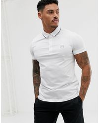 Armani Exchange Slim Fit Tipped Logo Polo - White