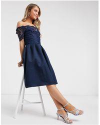Chi Chi London Hi-lo Hem Bardot Midi Dress - Blue