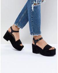 Pull&Bear Flatform Heel Sandal In Black
