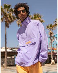 adidas Originals - 'summer Club' Quarter Zip Seersucker Windbreaker Jacket - Lyst