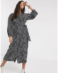 TOPSHOP Puff Sleeve Wrap Dress - Black