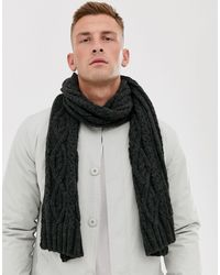 French Connection Cable Knit Scarf - Grey
