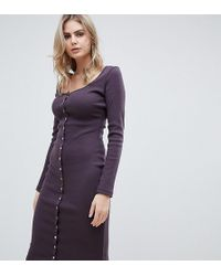 Missguided Popper Detail Ribbed Midi Dress In Aubergine - Brown