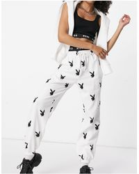 Missguided Playboy Co-ord Oversized jogger With Bunny Print - White