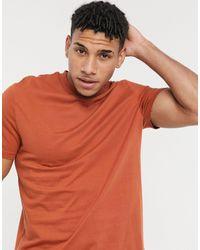 ASOS Camiseta color teja orgánica con cuello redondo - Naranja