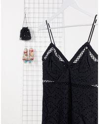 Bardot - Черное Кружевное Платье-комбинация Миди -черный - Lyst