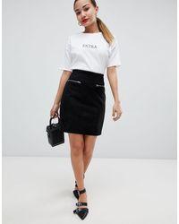 Glamorous Faux Suede Zip Detail Mini Skirt - Black