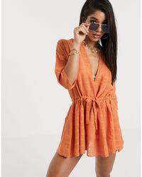 South Beach Полупрозрачное Платье В Стиле Милитари -коричневый - Оранжевый
