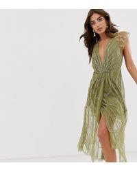 ASOS Midi Dress With Plunge Bodice And Linear Vintage Beading - Green