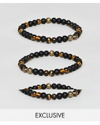 Reclaimed (vintage) - Inspired Beaded Semi Precious Bracelet Pack In Brown And Black Exclusive At Asos - Lyst
