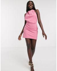 Finders Keepers Vestido corto rosa con espalda descubierta y cuello halter Mae