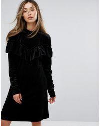 Gestuz - Velvet Black Dress With Frills - Lyst