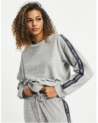 Tommy Hilfiger Ribbed Soft Velour Lounge Sweat Top - Grey