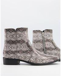 TOPMAN - Серые Кожаные Ботинки Со Змеиным Принтом -серый - Lyst