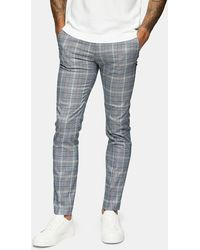 TOPMAN Check Skinny Fit Suit Trousers - Multicolour