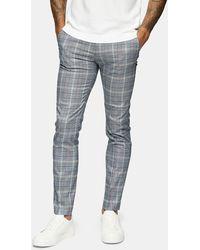 TOPMAN - Pantaloni skinny da abito grigi a quadri - Lyst