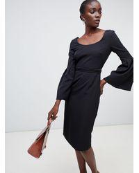 Finery London Elgin Fluted Sleeve Dress With Beaded Belt - Black