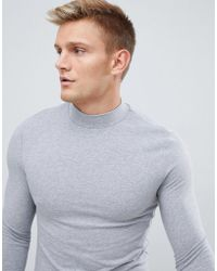 ASOS - Muscle Fit Long Sleeve T-shirt With Turtle Neck In Grey - Lyst