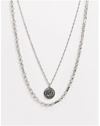 ASOS Layered Neckchain With Coin Pendant - Metallic