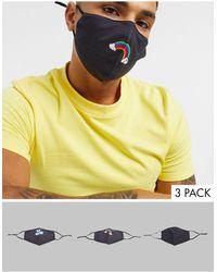 ASOS Confezione da 3 mascherine con laccetti regolabili e clip sul naso nere con stampa - Nero
