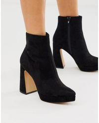 Missguided Platform Boots With Flared Heel - Black