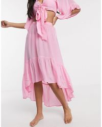 ASOS Satin High Low Hem Beach Skirt Co-ord - Pink
