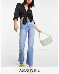 ASOS Asos Design Petite High Rise 'y2k' Stretch Flare Jeans - Blue