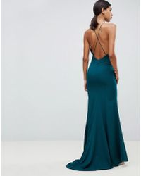 Jarlo - Fishtail Maxi Dress With Strappy Back In Green - Lyst
