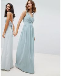 TFNC London - Wrap Front Maxi Bridesmaid Dress With Embellishment - Lyst