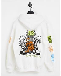 Pull&Bear Pull & Bear Hoodie With Lets Get Lost Print - White