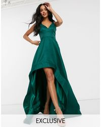 Bariano High Low Prom Dress With Full Organza Detail - Green