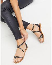 ALDO Strudded Flat Sandals - Black
