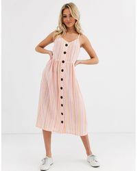Glamorous Платье Миди В Полоску На Пуговицах -мульти - Розовый