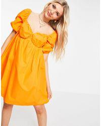 Pimkie Vestido acampanado con mangas abullonadas - Naranja
