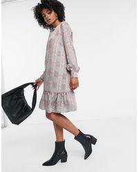 Vila - High Neck Smock Dress - Lyst