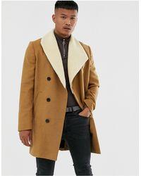Religion Faux Shearling Asymmetric Overcoat - Brown