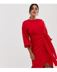 Boohoo Kimono Sleeve Wrap Midi Dress In Red