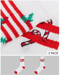 ASOS Sport Sock With Holly & Candy Cane 2 Pack - Red