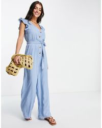 Vero Moda Chambray Jumpsuit With Frill Sleeve - Blue