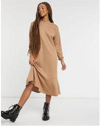 New Look Flute Hem Sweat Midi Dress - Brown